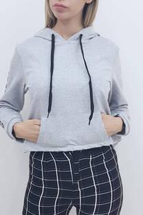Buzo rustico c/capucha y cordon estampa en manga -