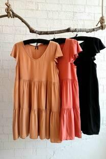 Vestido de poplin liso estampado con doble volados