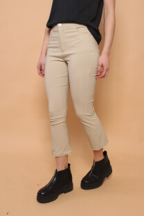 pantalon semi oxford al tobillo deshilado  -