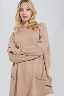 Sweater Super Largo Con Bolsillo -