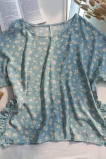 Blusa de lino estampado con volados