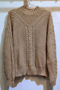 Sweater dolce con trenza -