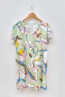 Vestido de lino estampado con bolsillos laterales -