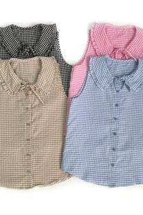 Camisa cuadrille c/voladitos cuello -