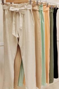 Pantalon Lino Frunce Con Lazo -
