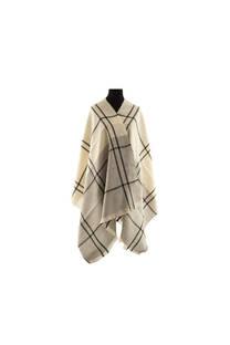 Modelo #23 Mantón suela-beige-negro de acrílico frizado desflecado.  Medidas: 75 cm x 200 cm -