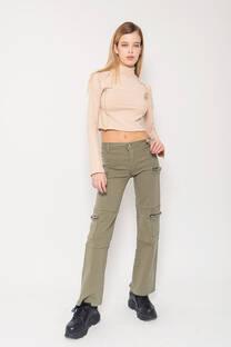 Pantalon cargo elastizado cierres -