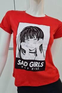 Remera m/c jersey c/atraque manga SAD GIRLS -