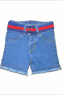 Bermuda bebe en jean elastizado con cinto -