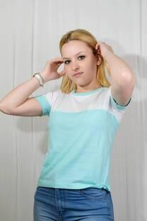 Remera m/c jersey combinado horizontal -