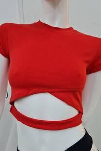 Remera m/c algodon cruzado c/recorte en cintura