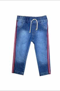 Jogger bebe en jean elastizado con cinta lateral -