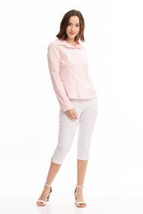 Camisa elastizada pinzada manga larga (Blanco y negro) -