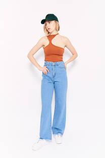 Wide leg long hi rise jeans celeste rigido -
