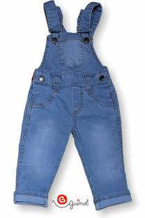 Jardinero mini bb jean elast unisex celeston -