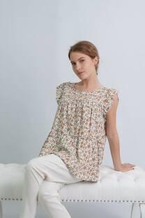 Blusa de lino estampado sin mangas con doble frunce y volados -
