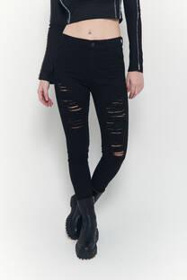 Hi rise skinny jeans negro elastizado roturas varias -