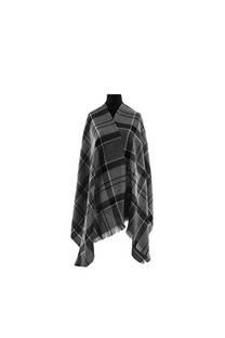 Modelo #33 Mantón negro-gris de acrílico frizado desflecado.  Medidas: 75 cm x 200 cm -