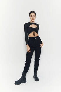 Baggy jeans negro clasico rigido -