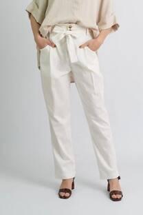 Pantalon de lino spandex con cierre, 2 botones y lazo -