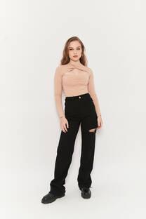 Wide leg long hi rise jeans negro rigido desflecado tajo lateral -