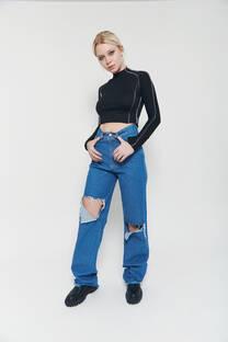 Wide leg long hi rise jeans celeste oscuro rigido tajos desparejos desflecado -