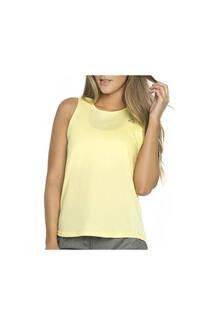 Musculosa con recorte, color amarillo.  Color: Amarillo Calce: Regular Composición: 90% poliester, 10% elastano. Recomendaciones de lavado: lavar con agua tibia, no planchar. -