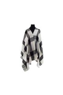 Modelo #43 Mantón blanco-gris de acrílico frizado desflecado.  Medidas: 70 cm x 180 cm -