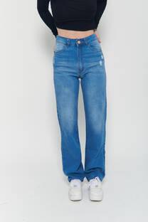 Straight leg hi rise jeans celeste rigido localizado bigotes roturitas -