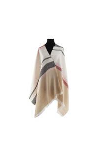Modelo #48 Mantón beige de acrílico frizado desflecado.  Medidas: 70 cm x 180 cm -