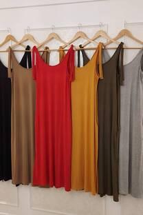 Vestido Soana De Modal Viscosa Largo Con Lazos En Los Hombros Y Bolsillos -