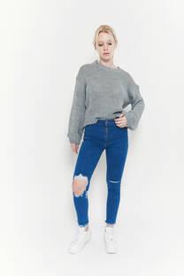 Juv hi rise skinny azul opaco elastizado desflecado tajos y rotura -