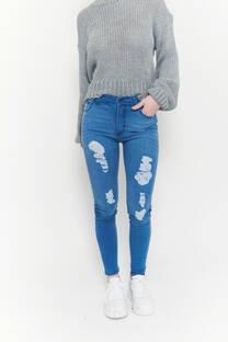 Hi rise skinny jeans azul claro elastizado bigotes roturas desparejas -