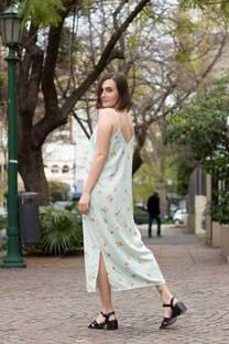 Vestido largo recto con tiras y tajo al costado