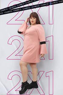 Vestido crepé manga oxford 2x1 -