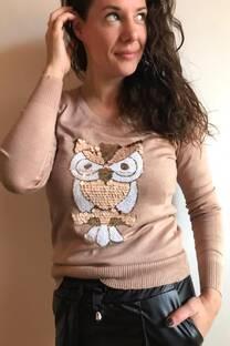 Sweters lycra con aplique bordado -