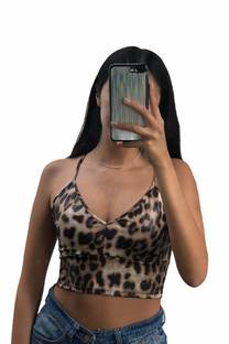 Top corpiño leopardo engomado  -