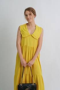 Vestido largo de lino cuello bebe con frunces