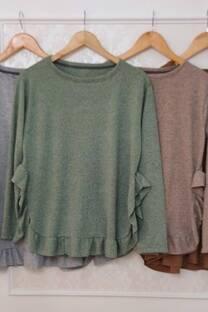 Sweater Poncho Dina Lanilla Con Volados -