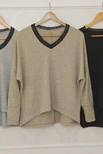 Sweater Gianna Lanilla Amplio Con Detalle De Puntilla -