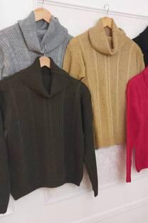 Sweater Lourdes Trenzado Con Cuello Caido -