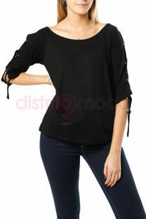 Blusa 3/4 con tiras en los hombros -
