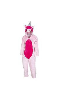 Pijama infantil de unicornio con cierre y capucha   Material: Peluche extra suave Color: Rosa-Fucsia  S: 100 cm M: 110 cm -