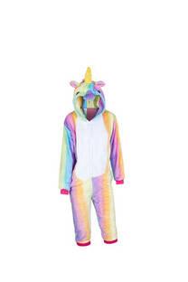 Pijama infantil de unicornio con cierre y capucha   Material: Peluche extra suave Color: Multicolor  S: 100 cm M: 110 cm L: 120 cm XL: 130 cm -