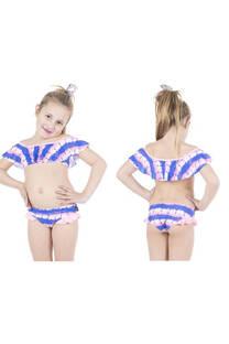 Conjunto bikini niña con diseño batik con volados. Color azul y rosa. -