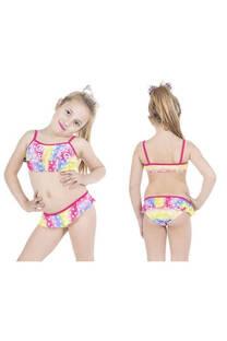 Conjunto bikini niña con diseño signo paz con volados. Color fucsia y amarillo. -