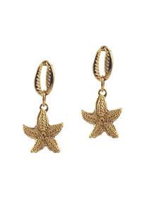 Aro dorado buzios con forma de estrella de mar. -
