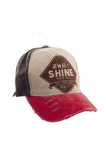 "Gorra trucker de jean vintage con estampado ""JEW EL SHINE"" y tira regulable. -"