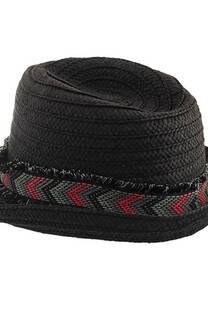 Sombrero tanguero de rafia desflecado -