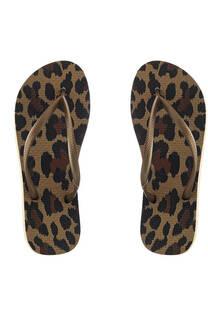 Ojota inyectada dama con diseño leopardo con tira color arena. -